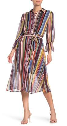 ECI Geometric Striped Midi Shirt Dress