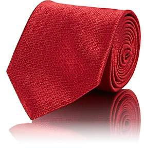 Brioni Men's Mini-Square Silk Jacquard Necktie - Red