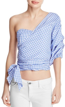 MLM Label Gingham One Shoulder Top - 100% Exclusive $187 thestylecure.com