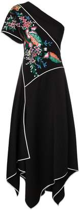 Diane von Furstenberg embroidered one-shoulder ottoman dress
