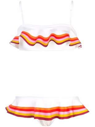 Zimmermann Goldie Bandeau Frill Rainbow Stripe Bikini