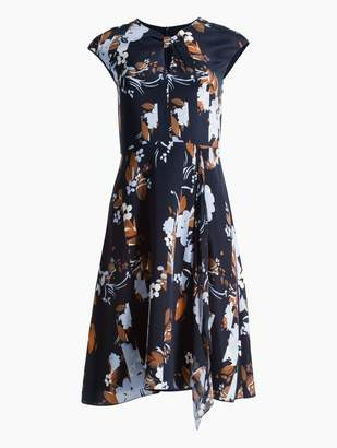 St. John Painted Floral Print Stretch Dress