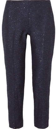 Lela Rose Sequin-embellished Tweed Straight-leg Pants - Navy
