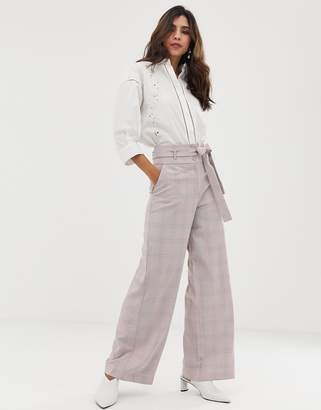 Vila check high waist wide leg pant