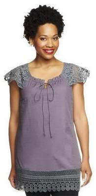 G.I.L.I. Got It Love It G.I.L.I. Cap Sleeve Keyhole Top with Lace Detail