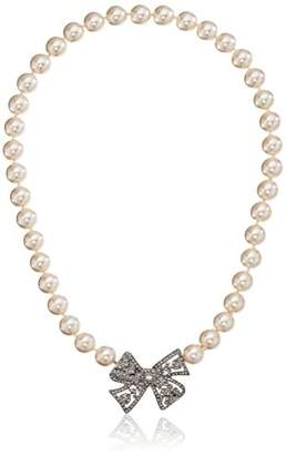 Kenneth Jay Lane Bride Simulated Cream Crystal Bow Pearl Strand Necklace