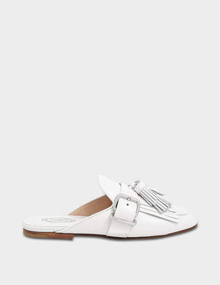 Tod's Fringed Mule Shoes in White Calfskin