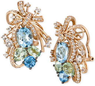 LeVian Le Vian Crazy Collection Multi-Stone Cluster Drop Earrings in 14k Rose Gold (14-1/6 ct. t.w.)