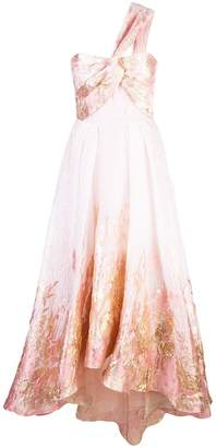 Marchesa one-shoulder Hi_Lo midi tea dress