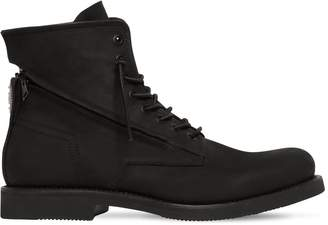 Bruno Bordese ZIPPED RUBBERIZED LEATHER LACE UP BOOTS
