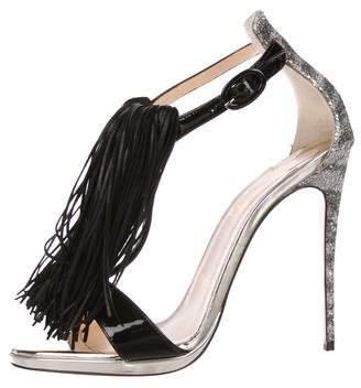 Christian Louboutin Fringe-Trimmed Ankle Strap Sandals