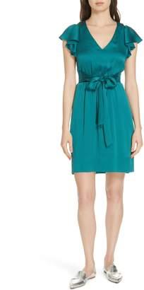 Rebecca Taylor Ruffle Sleeve Textured Silk Dress