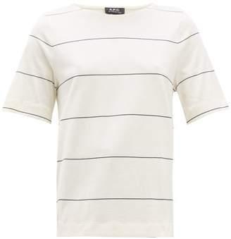 A.P.C. Sara Striped Cotton T Shirt - Womens - Navy White