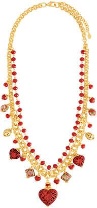 Jose & Maria Barrera Cinnabar Beaded Charm Necklace