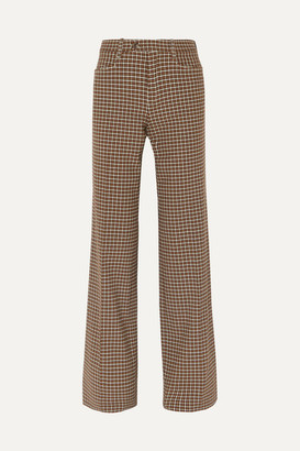 Chloé Checked Wool-blend Wide-leg Pants - Brown