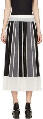 Viktor and Rolf Ivory Silk Gorgette Black and Grey Paneled Skirt