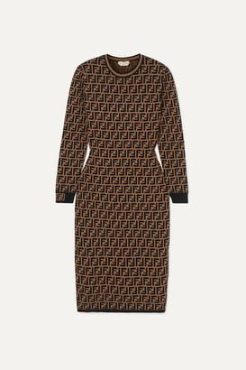 Fendi Jacquard-knit Midi Dress - Brown