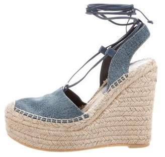 Saint Laurent Denim Espadrille Wedges