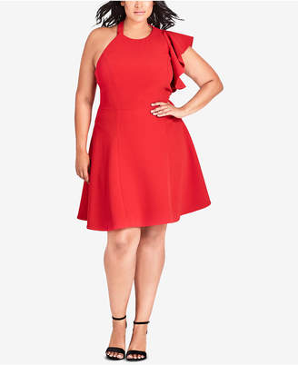 City Chic Trendy Plus Size Open-Back Fit & Flare Dress