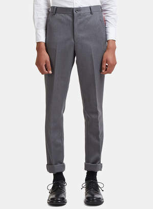 Thom Browne Painted Stripe Straight Leg Twill Chino Pants in Grey