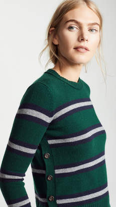 Autumn Cashmere Breton Stripe Side Button Sweater