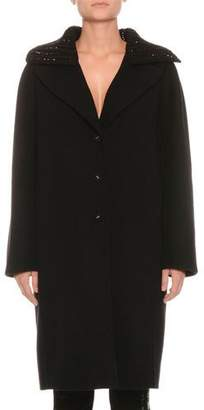 Ermanno Scervino Single-Breasted Knit Collar Wool Top Coat