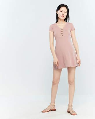 PINK ROSE Button-Front Knit A-Line Dress