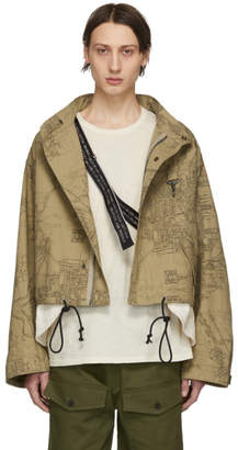 c06c39afc148 Reese Cooper Khaki Cropped Map Print Parka