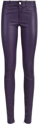 SET Zip Ankle Leather Trousers