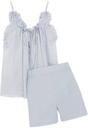 Three Graces London - Erissena And Alcina Cotton-voile Pajama Set - Light denim