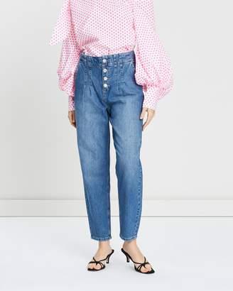 Miss Selfridge Mom High Waist Buttoned Jeans