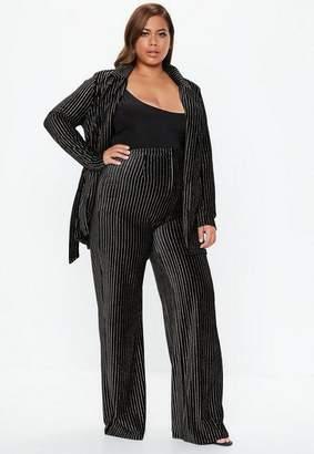 Missguided Plus Size Black Velvet Glitter Stripe Pants