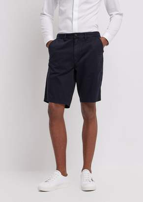 Emporio Armani Bermuda Shorts In Pigment-Dyed Stretch Cotton Satin