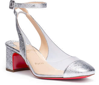 Christian Louboutin Asticocotte 55 silver patent leather pumps