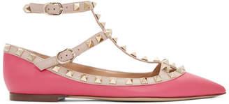 Valentino Pink Garavani Rockstud Cage Ballerina Flats