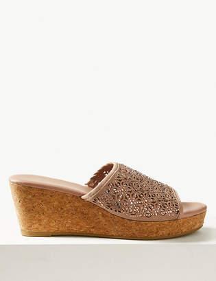 Marks and Spencer Wedge Heel Slip-on Sparkle Mule Sandals