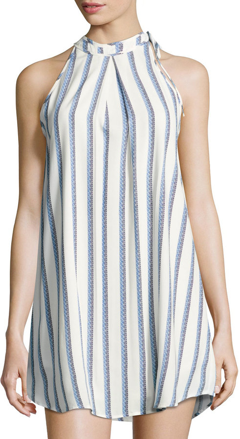 Collective Concepts Collective Concepts Striped Halter-Neck Shift Dress, Ivory