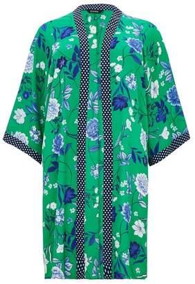 Evans Green Floral Print Spotted Kimono