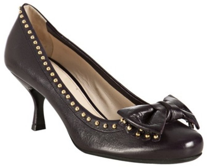 Prada must leather studded bow pumps