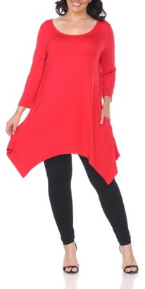 White Mark Women's Plus Size Solid Color Tunic Top