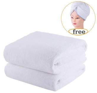 """Unbranded Luxury 2-Piece 350GSM Coral Fleece Bath Towel Set With 1 Hair Wrap,Super Soft & Absorbent,30"""" x60"""",Solid White"""