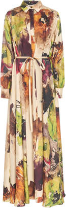 Co Collared Printed Silk Caftan Dress