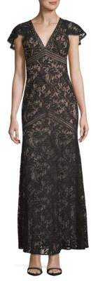 BCBGMAXAZRIA Lace Cap-Sleeve Sheath Gown