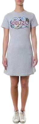 Kenzo Grey Cotton Printed Dress