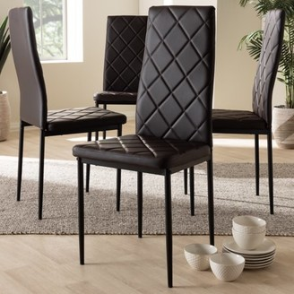 Baxton Studio Set of 4 Blaise Modern and Contemporary Brown Faux Leather Upholstered Dining Chairs