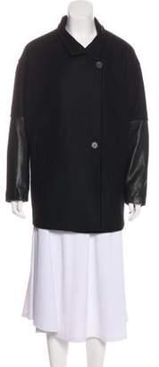 AllSaints Leather-Accented Short Coat
