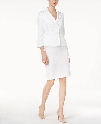 Le Suit Jacquard Skirt Suit $200 thestylecure.com