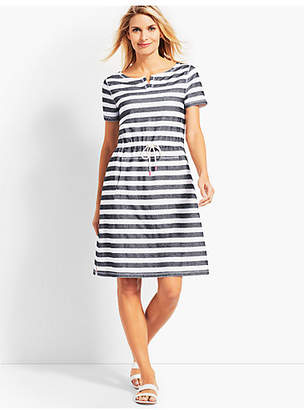 Talbots Textured Santorini Stripe Drawstring-Waist Dress