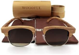 woodful Polarized Glasses Half Wood Frame Sunglasses Women (, Polarized)