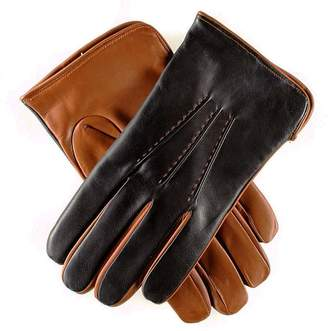 a54c566fd2854 Black Mens and Tobacco Italian Leather Gloves - Cashmere Lined